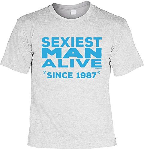 T-Shirt zum 30. Geburtstag Sexiest Man Alive since 1987 Geschenk zum 30 Geburtstag 30 Jahre Geburtstagsgeschenk 30-jähriger Grau