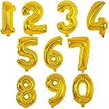 MANUKA Grand Nombre de Ballons à l'hélium Feuille d'or numéro 0-9 pour Les fêtes d'anniversaire