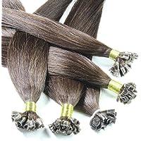 Semplicemente bello capelli e cosmetici 2 confezioni da 25 fili di extension di capelli naturali marroni (2) 40 centimetri di Remy cheratina qui in forma di U