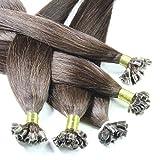 Just Beautiful Hair 200 U-tip Mechones Cabello Auténtico Remy India con Uniones Queratina 50cm - #2 moreno, 1x200 mechones