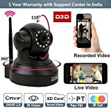 #3: D3D Wireless HD IP Wifi CCTV [Watch ONLINE DEMO right now] indoor Security Camera (support upto 128 GB Micro SD card) (Black Color)