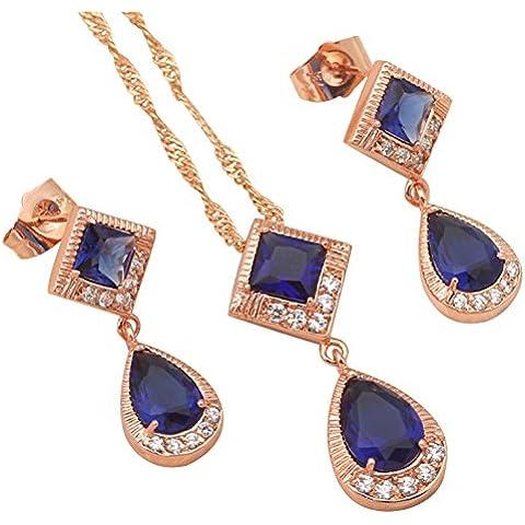Bling fashion delicato stile prodotto di lusso Fashion Jewelry Set di gioielli collana e orecchini placcato oro 18K zirconi blu scuro AAA js451a
