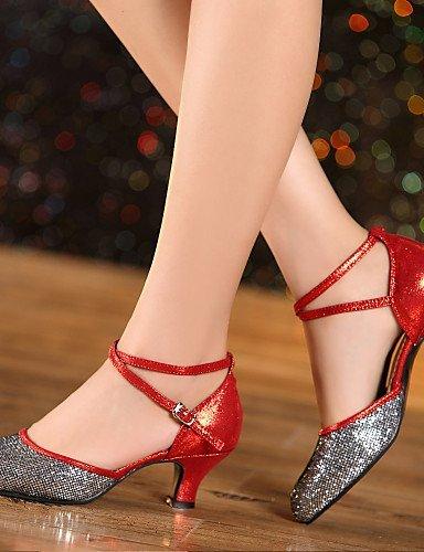 ShangYi Chaussures de danse ( Bleu / Jaune / Rouge / Argent / Or ) - Non personnalisable - Gros talon - Similicuir / Paillette - Latine Blue