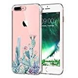 LUOLNH iPhone 8 Plus Case,iPhone 7 Plus Case with flowers, Slim Clear Chrome Gold Floral Pattern Soft Flexible TPU Back Cover Case for iPhone 8 Plus/iPhone 7 Plus -Cactus flower