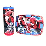 Cello Insulated, Leak-Proof Microwave Friendly Bpa Free Spider Man Lunch Bag Kit Set With Water Bottle And Lunch Box For Kids - Blue/Red