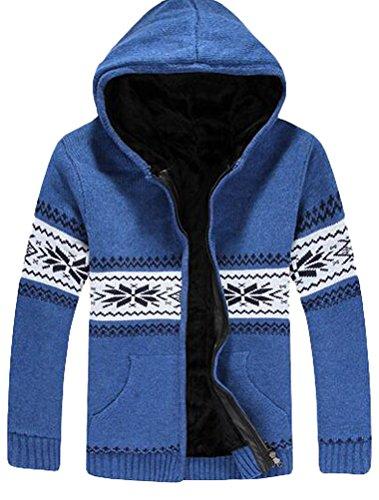 MatchLife Herren Reißverschluss Strickjacke Stehkragen Pullover Style3-Sky Blue-Fleece