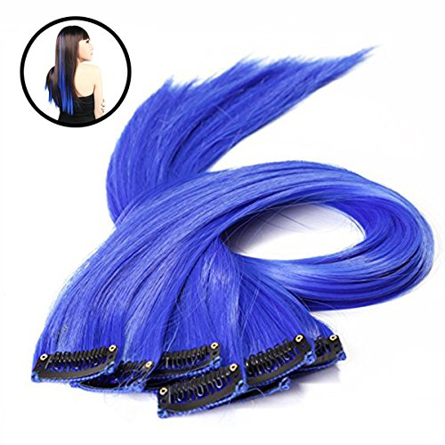 Frcolor 10 pezzi colorati evidenzia clip sintetica sulle estensioni dei capelli (blu)