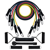 [Total 150 lbs] Exercise Resistance Bands Set, TOPELEK Fitness Resistance Bands Set with 5 Fitness Tubes/Handles/Stronger Door Anchor/Ankle Straps/Carrying Pouch/Workout Guides and Band Guard, Best for Men, Women and the Elders