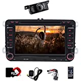 17,8cm Doppel DIN Auto Stereo Bluetooth GPS mit DVD Player Autoradio mit gratis 8gb karte für VW Polo Jetta Passat CC Tiguan Caddy + CANBUS Unterstützung SWC, Subwoofer, AUX, cam-in, USB SD (Schrecken 6.0)