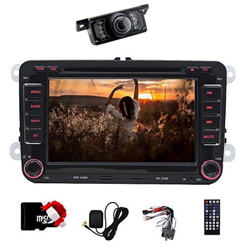Auto Für Gps Stereo-und (17,8cm Doppel DIN Auto Stereo Bluetooth GPS mit DVD Player Autoradio mit gratis 8gb karte für VW Polo Jetta Passat CC Tiguan Caddy + CANBUS Unterstützung SWC, Subwoofer, AUX, cam-in, USB SD (Schrecken 6.0))
