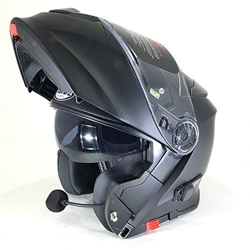 Vcan nuovo casco moto v271 casco bluetooth moto touring capovolgere flipup casco modulare sportivi caschi - color : nero opaco (l)