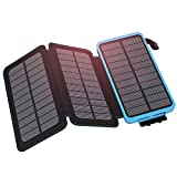 Hiluckey Solar Charger 24000mAh Power Bank with 3 Solar Panels Waterproof Portable Outdoor