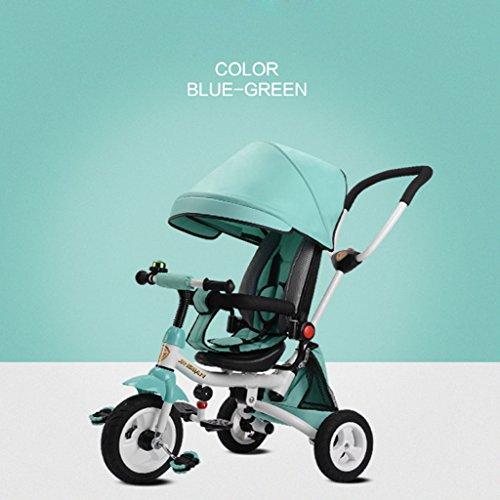 Unbekannt Great Kinder Dreirad Baby Fahrrad 1-3-5 Jahre alt Kind Spielzeug Warenkorb, leichte Folding/Liegesitz/drehbarer Sitz/Titan leeres Rad (Energy A++) (Farbe : Emerald Green)