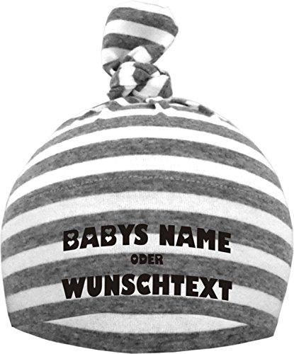 KLEINER FRATZ Baby Mütze bedruckt mit Ihrem WUNSCHTEXT (Farbe grau/weiss) (Gr. 12-36 Monate)