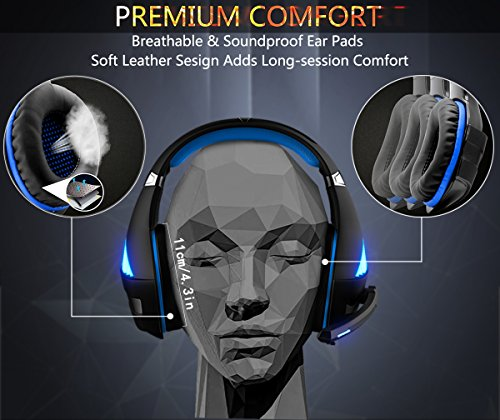 Beexcellent PS4 Xbox One Cuffie Gaming, Headset Auricolare Gioco Stereo con Microfono, Deep Bass, Noise Cancelling, Volume Controllo, LED light per PC, Mac, Tablet, Smartphone