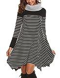 d0d759d42e9c41 Chigant Damen Gestreift T-Shirt-Kleid Oversize Longshirt mit Rundhals  Asymmetrischem Saum Für ...