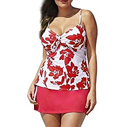 Familizo_bikini Swimwear Women, Familizo Women Printing Tankini Summer Causal Bikini Two Piece Push-up Padded Swimsuit Plus Size Swimwear (Xl)