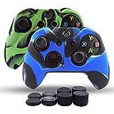 Skin Coque Lot 2pour Xbox One/Xbox One Fin/Manette Xbox One X Double Plus épais Coque en Silicone antidérapant Grip étui Protecteur–8PCs Pro Pouce Grips- Camo Camouflage Vert + Bleu