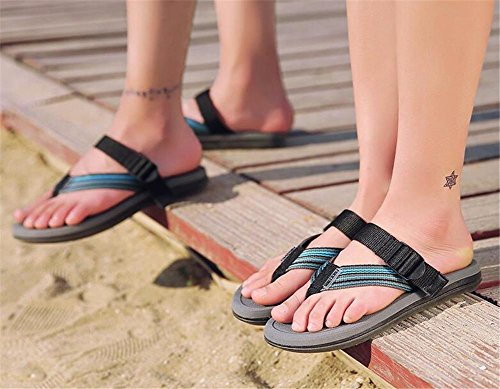 YEEY Open toe tacco piatto Pantofole Rotondo peep Plantform Sandali donna estate spiaggia post sandali infradito scarpe Blue