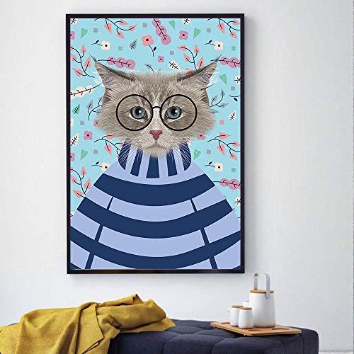 Leinwanddruck Poster Und Drucke Auf Leinwand Gedruckt Wandkunst Tiere Bild Für Wohnzimmer Dekoration Schöne Katze Mit Brille Kein Rahmen 50Cmx70Cm