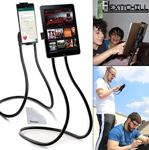 Flex'n'Chill Pro Nacken Handyhalter und Tablethalter, Schwanenhals mit 2-fach Lazy-Klammer-Funktion für Smartphones und Tablets wie iPad iPhone Samsung Android, Rotierende Handyhülle