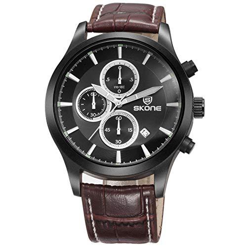 SJXIN schöne und stilvolle SKONE Uhr, DREI-Augen-Sechs-Pin-Quarzuhr Herren-Kalenderuhr Mode-Leuchtreklame Mode Uhren (Color : 2) - Leuchtreklame Uhr