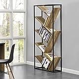 [en.casa] Design Bücherregal- Wohnzimmer Regal - Holzfarben - 180x80x30 cm