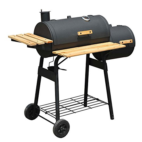 Outsunny Trolley Charcoal BBQ Barbecue Grill Patio Outdoor Garden Heating Heat Smoker New