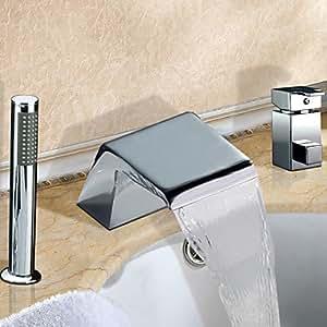 Zwei weit verbreitet Wasserfall verchromte Finish Badewanne Wasserhahn zeitgenössische mit Handbrause