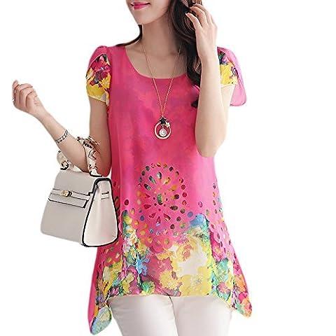 Hippolo Chemisier en mousseline de courroie O cou Imprimé floral creux Out Overlay Pétale manches T Shirt TOPS multicolores M rose