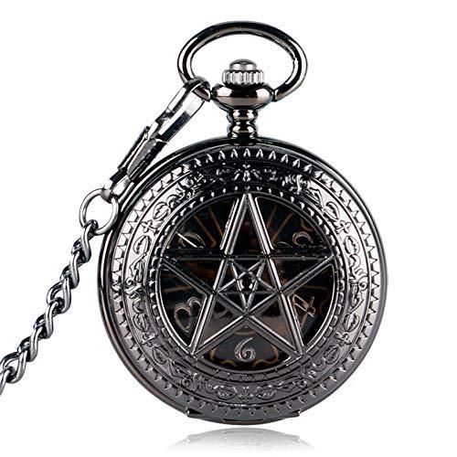 HJKLO Taschenuhr Taschenuhr Clock Hour Fob Mit Kette SupernaturalWind Up Anhänger Mechanisches Pentagramm, Schwarz (Wind Up Pocket Watch Mit Kette)