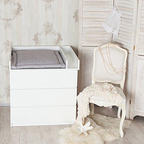 Wickelaufsatz + Trennfach für IKEA Malm Kommode, weiß.