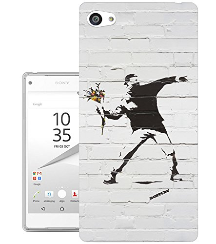 549 - Banksy Grafitti Art Flower thrower Design Sony Xperia Z5 Compact / Mini Fashion Trend Silikon Hülle Schutzhülle Schutzcase Gel Rubber Silicone Hülle