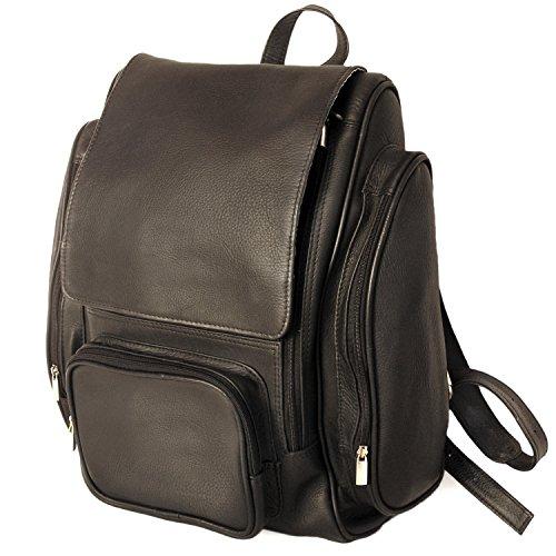 Sehr Großer Lederrucksack Größe XL/Laptop Rucksack bis 15,6 Zoll, für Damen und Herren, Schwarz, Jahn-Tasche 709