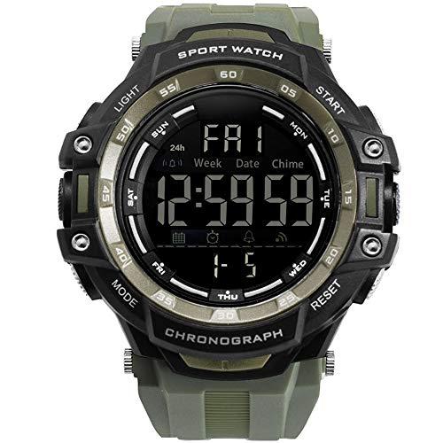 C.W.EURJ Herrenuhr für Outdoor-Sportarten wasserdichte Digital-Einzelanzeige leuchtende multifunktionale elektronische Uhr (Color : Grün)