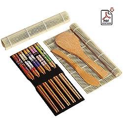 Sushi Making Kit-9Pezzi, Coperchio in bambù, Include 5x Bacchette, 2x Sushi Rolling Mats, 1x Rice Paddle, 1x Rice Spreader |100% Bamboo Sushi tappeti e Utensili.
