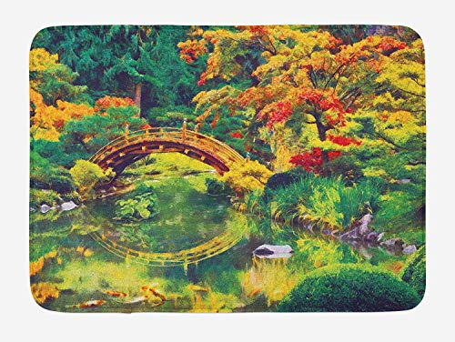 JIEKEIO Country Bath Mat, Fairy Image of a Japanese Garden with an Old Ancient Bridge The Lake Nature Print, Plush Bathroom Decor Mat with Non Slip Backing, 23.6 W X 15.7 W Inches, Green Orange