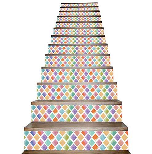 Stairs stickers 3D Treppen-Aufkleber Bunt Mosaik Drucken DIY Selbstklebend Abziehbild Entfernbar PVC-Wandbild Zum Dekoration Nach Hause Treppen-Dekor Schritte Aufkleber 1Set,(100 * 18cm)*13pcs