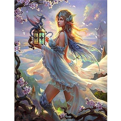 MXJSUA DIY 5D Diamant-Malerei von Nummer Kits Full Strass Stickerei Kreuzstich Bilder Arts Craft für Home Wand-Dekor, Antike Lampe goddess-12X Rand