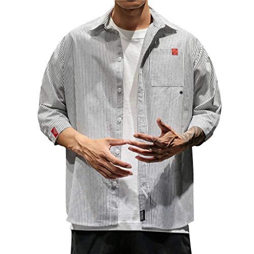 Xmiral T-Shirt Herren Kurzärmlig Stehkragen Retro Gedruckte Streifen Hemd Shirt Dünn Outwear Slim Fit Men Poloshirt Kurzarm Einfarbig Basic Polohemd(c Weiß,5XL) -