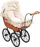 Small Foot by Legler Puppen-Kinderwagen Cornelia mit Weidenkorb, groß, Vintage-Stil, Antik-Puppen-Kinderwagen Cornelia, inkl. Bettwäsche