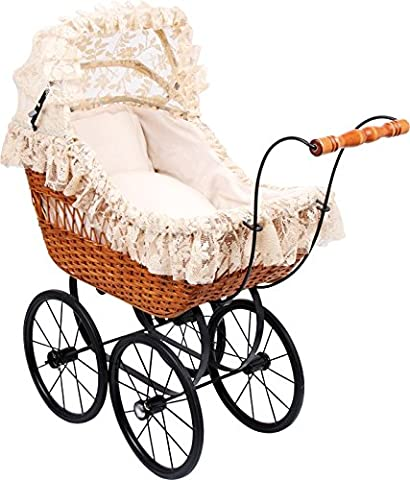 Large Antique Wicker Vintage Dolls Pram Pushchair Cornelia with Bedding