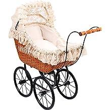 """Puppen-Kinderwagen """"Cornelia"""" mit Weidenkorb, groß, Vintage-Stil, Antik-Puppen-Kinderwagen Cornelia, inkl. Bettwäsche"""