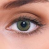 """Stark deckende natürliche grüne Kontaktlinsen farbig """"Natural Green"""" + Behälter von LENZOTICA I 1 Paar (2 Stück) I DIA 14.00 I ohne Stärke"""