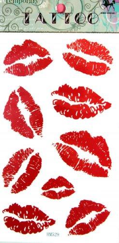 Mode lèvres rouge stckers de tatouage temporaire