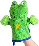 Morgenstern Waschhandschuh Waschfigur Krokodil grasgrün