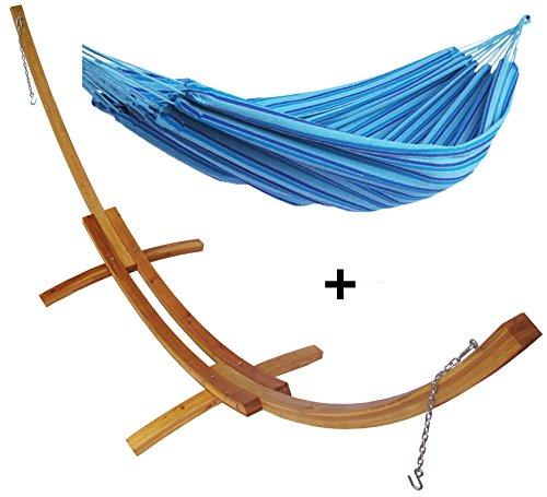 Support demi lune plus hamac double bleu ciel bois mélèze hamac détente