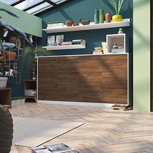 SMARTBett Basic 90×200 Horizontal Weiss/Nussbaum Schrankbett | ausklappbares Wandbett, ideal geeignet als Wandklappbett fürs Gästezimmer, Büro, Wohnzimmer, Schlafzimmer - 7
