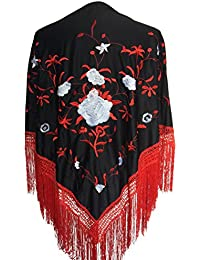 La Señorita Mantones bordados Flamenco Manton de Manila negro rojo blanco