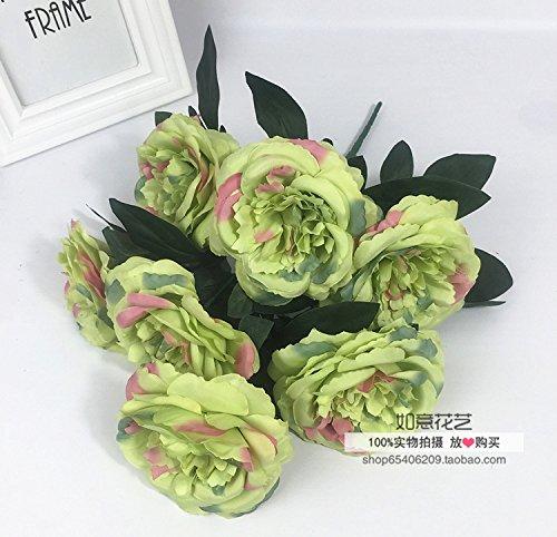 lumen die Simulation von 7 Kopf Tischdekoration Pfingstrose Blumenstrauß Hochzeit Silk Blume Blumen Fotografie Hintergrund, Gras Grün ()